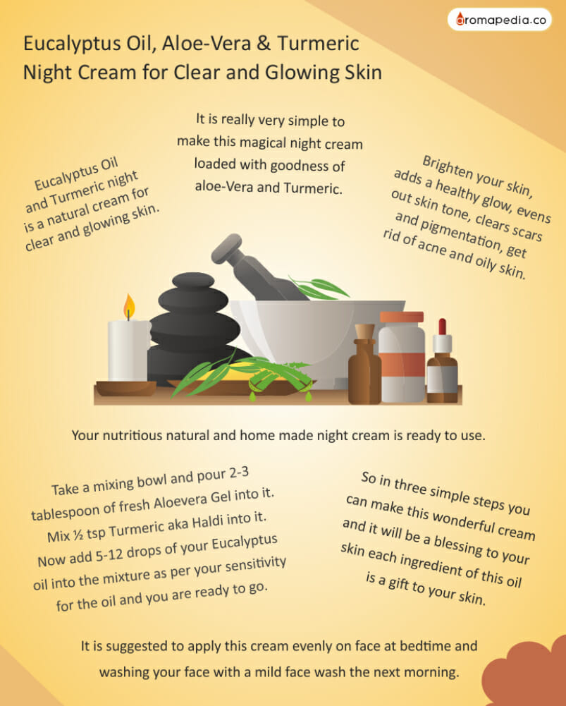 Eucalyptus Oil, Aloe-Vera & Turmeric Night Cream for Clear and Glowing Skin